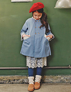 Girl's Holiday Solid ShirtCotton Spring / Fall Blue