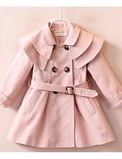 Mädchen Kleid / Anzug & Overall-Ausgehen einfarbig Baumwolle Herbst / Frühling Rosa