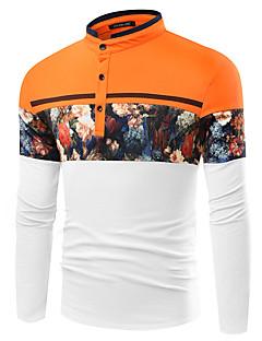 Men's Print / Striped / Plaid / Solid / Floral Casual / Work / Formal / Sport / Plus Size T-ShirtCotton /