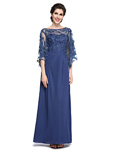LAN TING BRIDE Sheath / Column Mother of the Bride Dress - Elegant See Through Ankle-length Half Sleeve Chiffon Lace with Lace