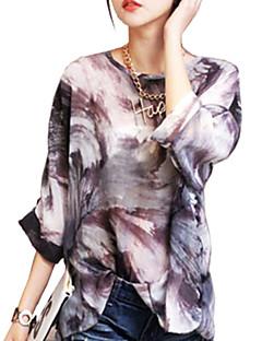 Women's Formal / Plus Size All Seasons Blouse,Print Cowl Long Sleeve Black Cotton Medium