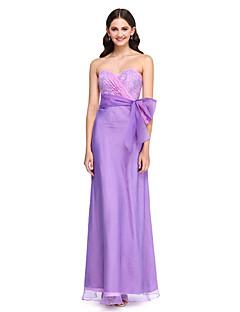 Lanting Bride®Floor-length Lace / Organza Bridesmaid Dress - Elegant Sheath / Column Sweetheart with Bow(s) / Lace / Sash / Ribbon / Side Draping