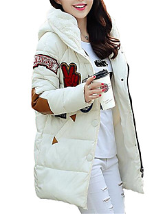 Women's Long Padded CoatSimple Going out / Casual/Daily Letter-Polyester Polyester Long Sleeve Hooded Plus Size