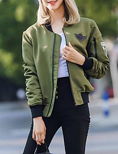 Høj krave Langærmet Medium Dame Grøn Ensfarvet Efterår Sødt I-byen-tøj Jakke,Polyester