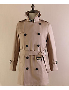 Men's Casual/Daily Simple Trench Coat,Solid Shirt Collar Long Sleeve Fall Blue / Beige / Black Cotton Medium
