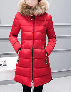 Women's Long Padded Coat Street chic Plus Size / Casual/Daily Solid-Polyester Cotton Long Sleeve Hooded Blue / Pink / Red / Black / Gray Winter