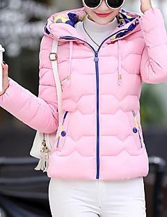 Damen Gefüttert Mantel,Kurz Einfach Übergröße Solide-Baumwolle / Polyester Polypropylen Langarm Blau / Rosa / Schwarz / Grün / GelbMit