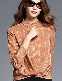 BOMOVO® Mujer Cuello Camisero Manga Larga Camisa y blusa Caqui-B16QAN8