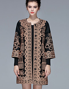 Women's Going out / Plus Size Sophisticated Coat,Jacquard Long Sleeve Fall / Winter Red / Black / Green Others