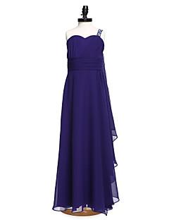 2017 lanting parole longueur bride® mousseline demoiselle d'honneur junior robe d'une ligne d'une épaule avec des perles / écharpe / ruban