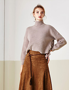 MASKED QUEEN Women's Casual/Daily Simple Regular Pullover Blue / Brown Turtleneck Long Sleeve Acrylic Winter Thick