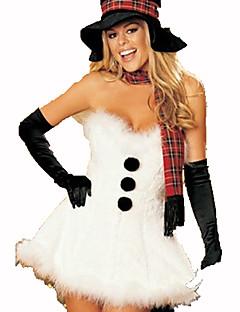 Julemands Dragt Festival/Højtider Halloween Kostumer Hvid Ensfarvet Kjole / Handsker Jul Terylene