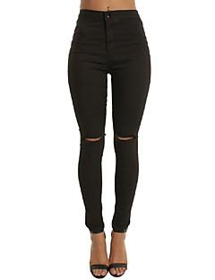 Kvinders Simpel / Street Tætsiddende Bukser Mikroelastisk Polyester