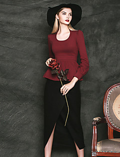 Mulheres Saias Altura dos Joelhos Simples Lã / Poliéster Sem Elasticidade Mulheres
