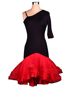 Latin Dance Dresses Women's Performance Training Spandex Crepe Ruched 1 Piece Half Sleeve Dress S-4XL:95