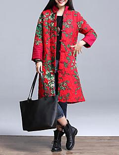 Feminino Longo Casaco Acolchoado,Vintage Floral Casual / Tamanhos Grandes-Algodão Poliéster Manga Longa Colarinho Chinês Vermelho