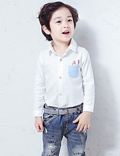 Boy's Casual/Daily Solid ShirtCotton Fall Blue / White / Gray