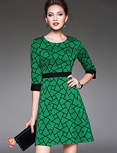 Dámské Vintage / Jednoduché Velké velikosti / Jdeme ven Pouzdro Šaty Geometrický,Tříčtvrteční rukáv Kulatý Nad kolena Zelená Polyester