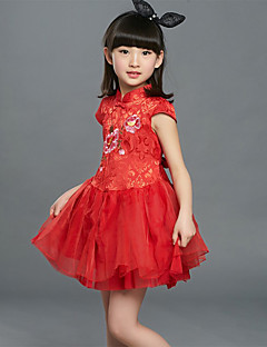 Girl's Casual/Daily Embroidered DressSilk Summer Red