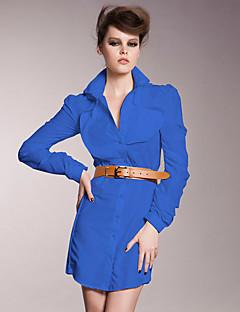 Dames Casual/Dagelijks / Nette schoenen / Werk Sexy / Vintage / Verfijnd Overhemd Jurk Effen-Overhemdkraag Boven de knie Lange mouw Blauw