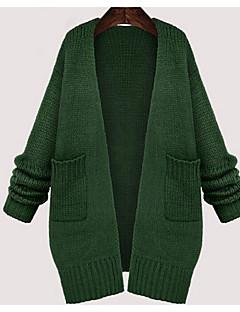 Γυναικεία Καθημερινά / Μεγάλα Μεγέθη Απλό Κανονικό Ζακέτα,Μονόχρωμο Πράσινο Μακρυμάνικο Στρογγυλή Λαιμόκοψη Βαμβάκι ΧειμώναςΜεσαίου
