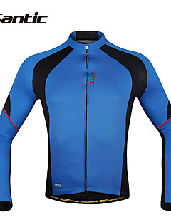 SANTIC Cycling Jersey Men's Long Sleeves Bike Jacket Jersey Tops Quick Dry Ultraviolet Resistant Moisture Permeability Breathable