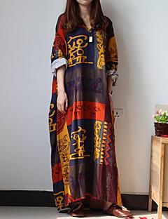 Tunik Dress Fritid/hverdag Vintage Dame,Trykt mønster V-hals Maxi Langermet Flerfarget Bomull / Lin Vår / Høst Lavt liv Uelastisk Tynn