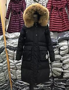 Dame Lang Dun Langermet Frakk,Enkel Fritid/hverdag / Plusstørrelser Ensfarget-Polyester Hvitt andedun Sort