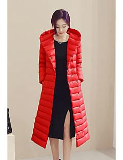 Damen Daunen Mantel,Lang Einfach Übergröße Lässig/Alltäglich Solide-Polyester Weiße Entendaunen Langarm Rot