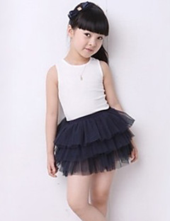 Girl Casual/Daily Solid Skirt-Chiffon Summer