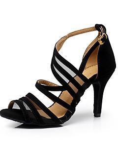 Scarpe da ballo-Personalizzabile-Da donna-Balli latino-americani / Sneakers da danza moderna / Salsa-A stiletto-Vellutato-Nero