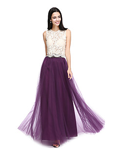 2017 Lanting Bride® Floor-length Lace / Tulle See Through Bridesmaid Dress - A-line Jewel with Lace