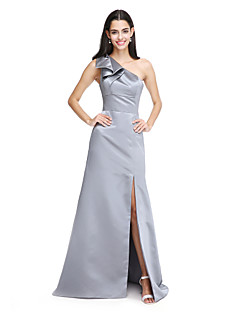 LAN TING BRIDE Sweep / Brush Train One Shoulder Bridesmaid Dress - Furcal Elegant Sleeveless Satin