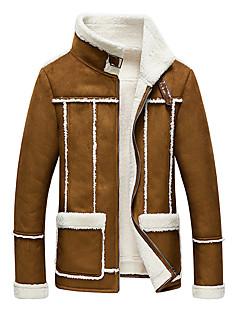 Masculino Jaquetas de Couro Tamanhos Grandes Vintage / Simples Outono / Inverno,Sólido Marrom / Cinza Poliuretano / Pêlo de Cordeiro