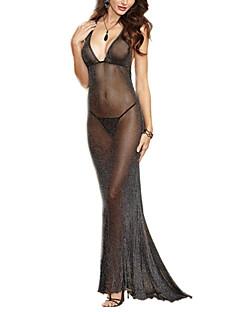 Damen Besonders sexy Anzüge Nachtwäsche,Sexy einfarbig Polyester Elasthan Schwarz