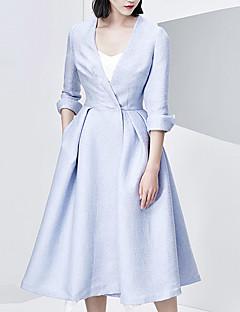 Damen Solide Einfach Lässig/Alltäglich Trenchcoat,Herbst V-Ausschnitt ¾-Arm Blau Mittel Baumwolle / Nylon