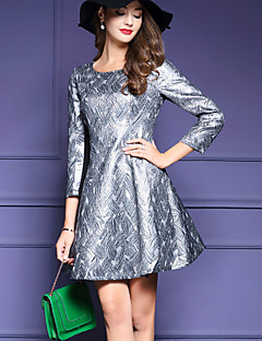 Women's Plus Size / Casual/Daily Simple Sheath DressJacquard  Sleeve Silver Polyester Fall / Winter Mid Rise