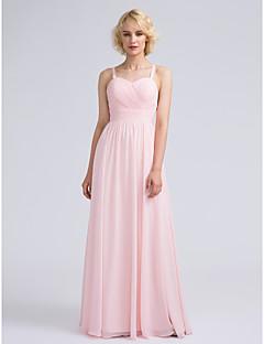 2017 לנטינג שיפון באורך הרצפה bride® שמלת השושבינה אלגנטי - רצועות ספגטי א-קו עם קשת (ים)