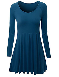 Women's Plus Size / Casual/Daily Simple Skater DressSolid Round Neck Midi Long SleeveBlue / Pink / Red / White