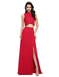TS Couture 프롬 포멀 이브닝 드레스 - 투피스 시스 / 칼럼 쥬얼리 바닥 길이 쉬폰 와 앞면 트임