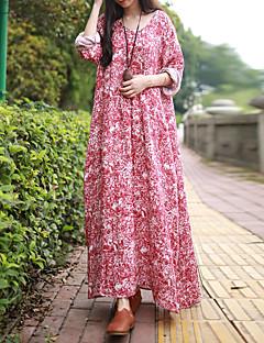 Kadın Günlük/Sade Çin Stili Salaş Elbise Çiçekli,Uzun Kollu V Yaka Maksi Kırmızı Diğer Bahar / Sonbahar Normal Bel Esnemez İnce