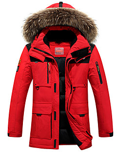 Men's Down Coat,Street chic Plus Size Solid-Polyester White Duck Down Long Sleeve Hooded Red / Black / Green