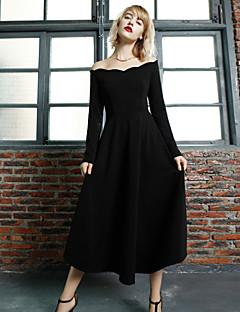 Damen Das kleine Schwarze Kleid-Ausgehen Einfach Solide Bateau Knielang Langarm Schwarz Nylon Frühling / Herbst Hohe Hüfthöhe