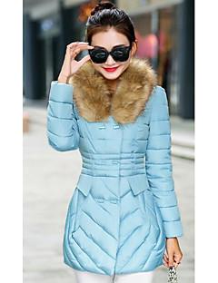Пальто Простое Длинная Пуховик Для женщин,Однотонный На каждый день Большие размеры Полиэстер Хлопок,Длинный рукав