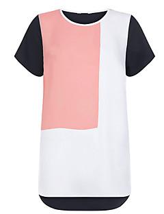 Polyester Rosa / Sort Medium Kortermet,Rund hals T-skjorte Fargeblokk Vår / Høst Enkel / Søt Fritid/hverdag / Plusstørrelser Dame