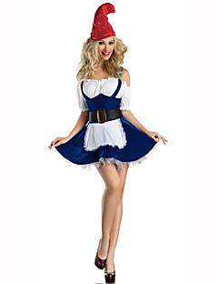 Kerstmanpakken Festival/Feestdagen Halloween Kostuums Rood / Blauw Effen Kleding / Riem / Hoeden Kerstmis Textiel Binnenwerk