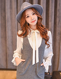 Women's Going out /Daily / Work Vintage / Simple / Cute ShirtSolid Stand Long Sleeve