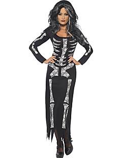 Cosplay Costumes Skeleton/Skull Halloween White / Black Print Cotton Dress