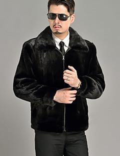 Masculino Casaco de Pelo Casual / Formal / Trabalho Vintage / Moda de Rua Inverno,Sólido Preto Pêlo Sintético Lapela Pontuda-Manga Longa