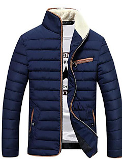 Men's Regular Padded Coat,Simple Casual/Daily Solid-Polyester Cotton Long Sleeve Stand